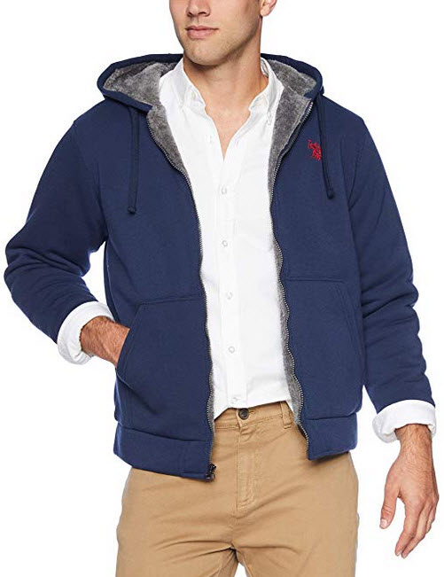 U.S. Polo Assn. Men's Fleece Sherpa Hoodie classic navy