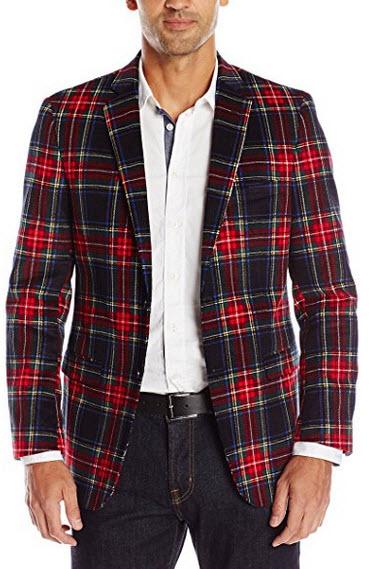 U.S. Polo Assn. Men's Tartan Plaid Cotton Blazer.