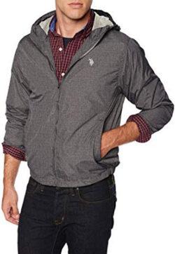 U.S. Polo Assn. Men's Windbreaker Jacket, black heather