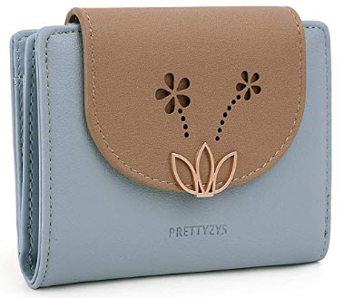 UTO Wallet for Women PU Leather Lotus Card Holder Organizer Girls Zipper Coin Purse, blue