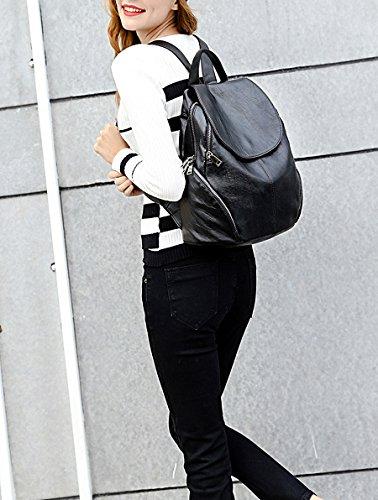 UTO Women Backpack Purse PU Washed Leather Large Capacity Ladies Rucksack
