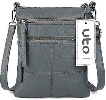 UTO Women Small Crossbody Bag Roomy Multi Pockets Cell Phone iPad-Mini Kindle Holder Shoulder Pu ...