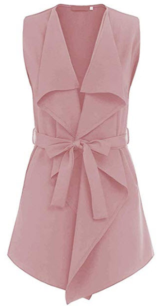 UUANG Women's Trench Cardigan Casual Waterfall Collar Pockets Wrap Sleeveless Vest w Belt