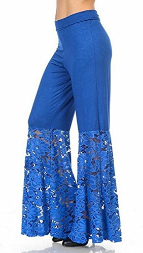 UUYUK Womens Casual Cotton High Waist Lace Patchwork Palazzo Pants