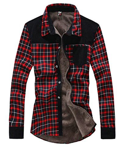 UUYUK-Men Fleece Lined Plaid Thermal Long Sleeve Flannel Shirt