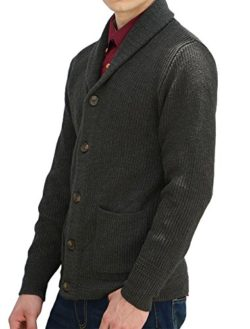 uxcell Allegra K Men Shawl Collar Front Pockets Single Breasted Long Sleeves Cardigan