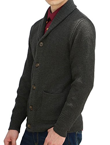 uxcell Allegra K Men Shawl Collar Front Pockets Single Breasted Long Sleeves Cardigan