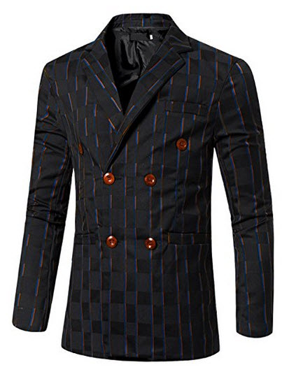 uxcell Men Striped Checked Long Sleeves Double Breasted Slim Fit Blazer.
