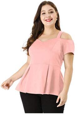 uxcell Women's Plus Size High Waist Sweetheart Cold Shoulder Peplum Top, pink