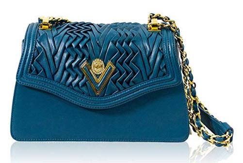 Valentino Orlandi Italian Designer Pleated Draped Seafoam Blue Leather Purse Chain Bag