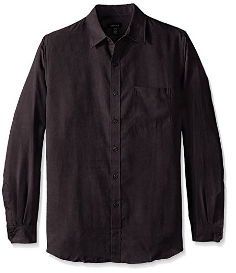 Van Heusen Men's Big and Tall Long Sleeve Solid Faux Suede Button Up Shirt .