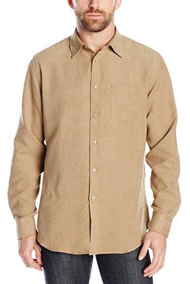 Van Heusen Men's Long Sleeve Solid Faux Suede Button Up Shirt khaki hops