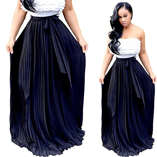 VANCOL Women's Retro Vintage High Waist Pleated Big Hem Bow Tie Maxi Skirt