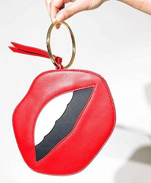 Vanity's Coin purse wallet designed with faux leather red lips money holder pouch for women