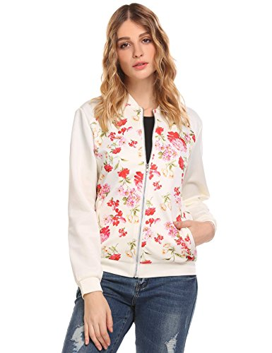 Vansop Long Sleeve Zippered Floral Print Patchwork Slim Fit Bomber Jacket