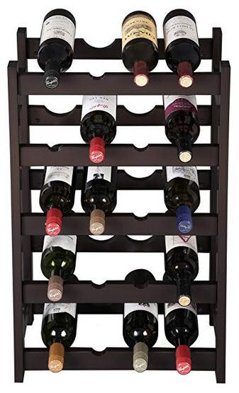 VASAGLE Wood 20 Wine Display Rack, Standing Bottles Storage Shelf, Wobble-Free, Espresso