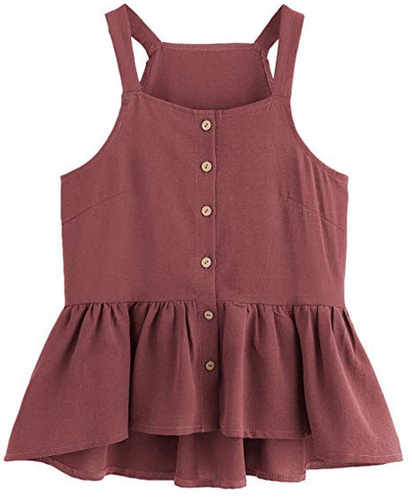 Verdusa Women's Casual Single Breasted Ruffle Hem Racerback Cami Top Shirt burgundy