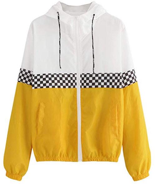 Verdusa Women's Hooded Color Block Drawstring Sports Windbreaker Jacket, ginger