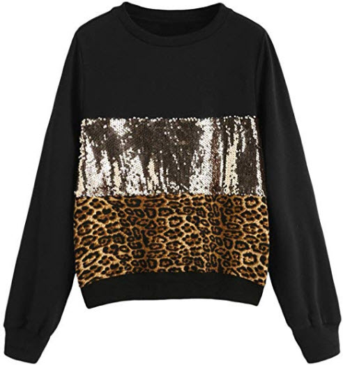 Verdusa Women's Sequin Sweatshirt Long Sleeve Letter Print Loose Pullover Shirt leopard