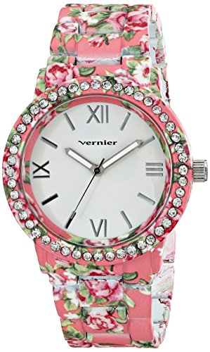 Vernier Women's VNR11168O Pink Floral and Rhinestone Watch