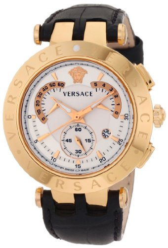 "Versace Men's 23C80D002 S009 ""V-Race"" Rose Gold-Plated Watch with Black Leathe ..."