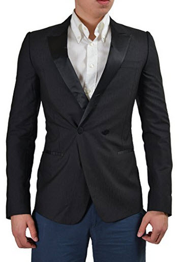 Versace Silk Wool Black Double Breasted Tuxedo Style Men's Blazer US 38 IT 48.