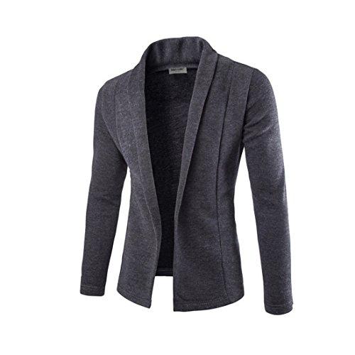 Vertvie Men's Casual Long Sleeve Shawl Collar V-Neck Slim Fit Cardigan Sweater