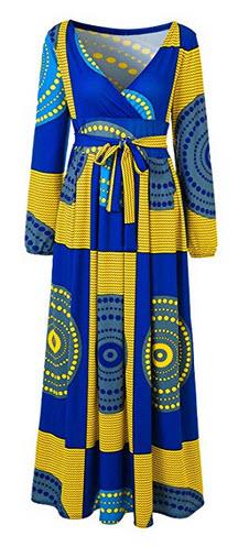 VERWIN African Print V Neck High Waist Color Block Evening Dress Wrap Maxi Dress yellow