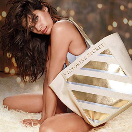 Victoria's Secret Carryall Gold Dust Sparkle & Silver Striped Bling Tote Bag