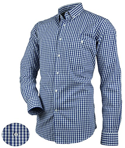 Victorio Men's Cotton Shirt In Blue White Checkered Pattern Slim V214