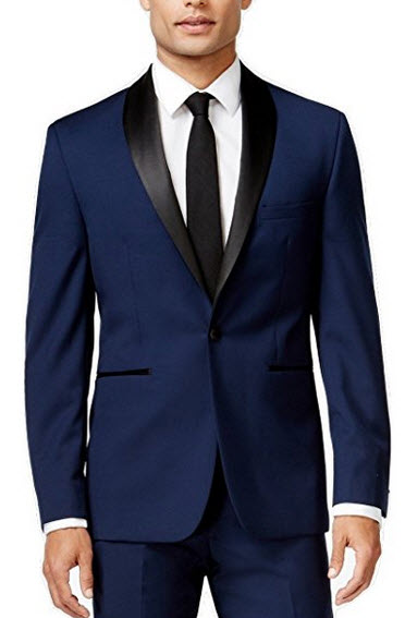 Vince Camuto Slim Navy Solid Shawl Lapel One Button New Men's Sport Coat.