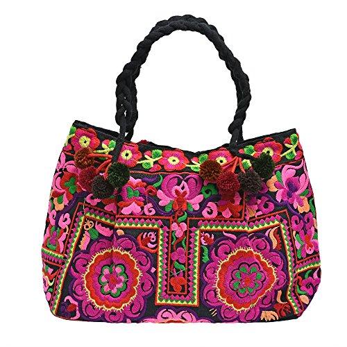 Vintage Chic Floral Garden Embroidered Fabric Satchel Handbag by AeraVida