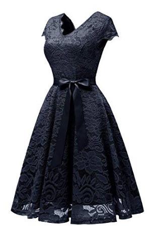 Vinvv Women's Lace Vintage Dress Bridesmaid Party Swing Homecoming Dress Women1950s Retro  ...