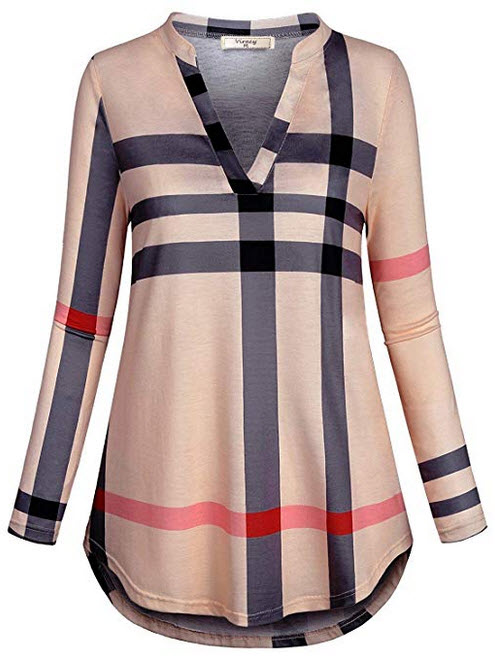 Viracy Womens 3 4 Roll Sleeve Shirt Notch V Neck Loose Pattern Tunic Top beige