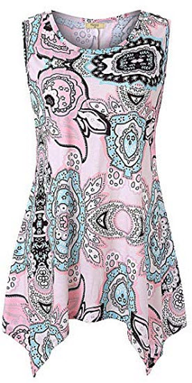 Viracy Women's Summer Casual Sleeveless Swing Tunic Floral Tank Top, pink