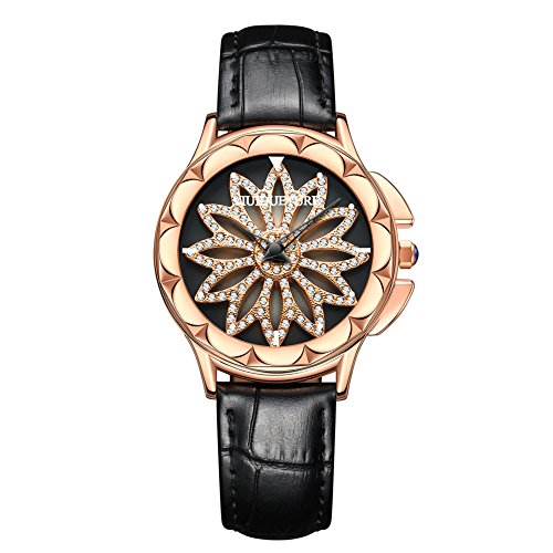 ViuiDueTure FQ8089 [Rotation Floral] Rose Gold Dress watch Women Rhinestone Genuine Leather Quar ...