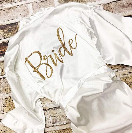 Vlazom Bride Bridesmaid Robes Silk Bride Party Robes Dressing Gwon, Wedding Day Robes, Glitter B ...
