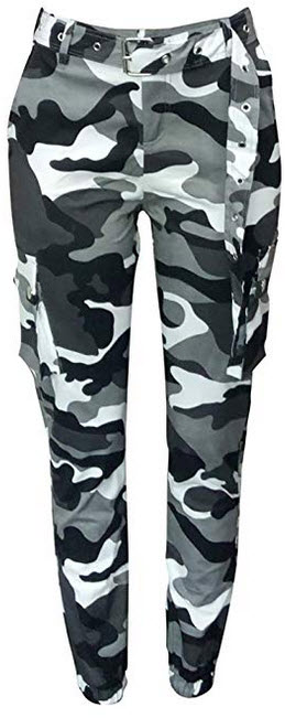 Voghtic Women's High Waisted Slim Fit Camoflage Camo Jogger Pants with Belt black