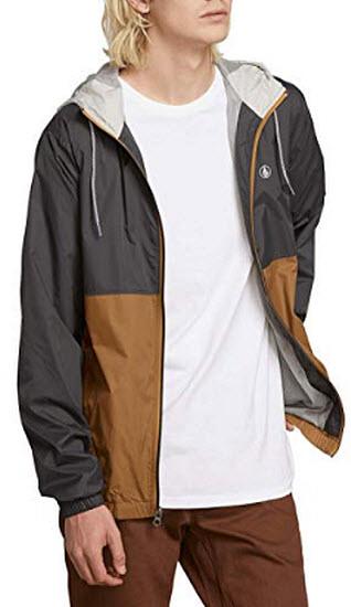 Volcom Men's Ermont Hooded Windbreaker Jacket, dark khaki
