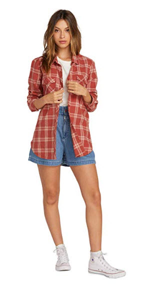 Volcom Women's Getting Rad Plaid Long Sleeve Flannel Shirt dark clay