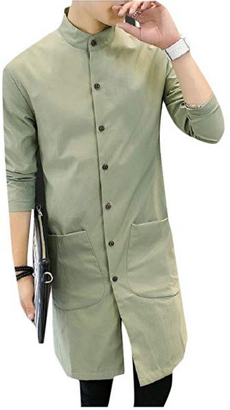 Vska Men Light Weight Casual Business Stand Up Collar Long Trench Coat green