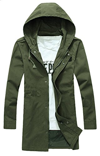 Vska Mens Full Zipper Mid Long Trench Coat Hoodies Jacket Overcoat.