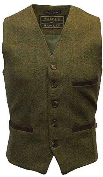 Walker & Hawkes – Men's Tweed Waistcoat Vest Formal Teflon Dress Gilet