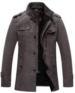 Wantdo Men's Wool Blend Jacket Stand Collar Windproof Pea Coat
