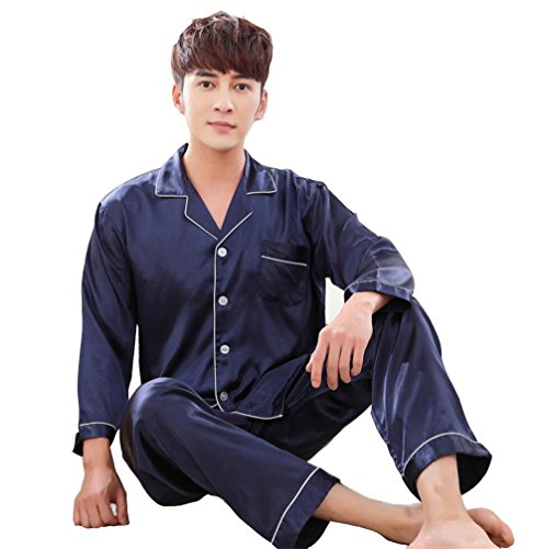 Wantschun Mens Satin Silk Pyjamas Set Sleepwear Loungewear Nightwear PJS Long Sleeved Shirt + Pants