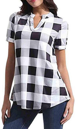 WAWAYA Women's Short Sleeve Plaid Check Comfy Plus Size V-Neck Summer Shirt Blouse Top, white