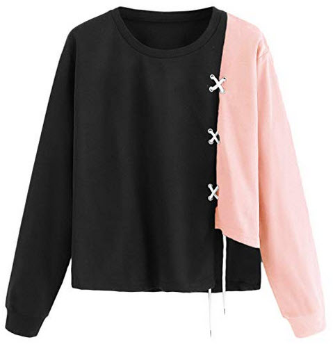 WDIRARA Womens Casual Round Neck Pullover Sweatshirt Color Block Sweater Tops pink
