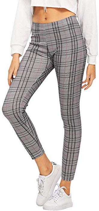 WDIRARA Women's Elastic Waist Plaid Print Pants Soft Printed Fashion Leggings grey