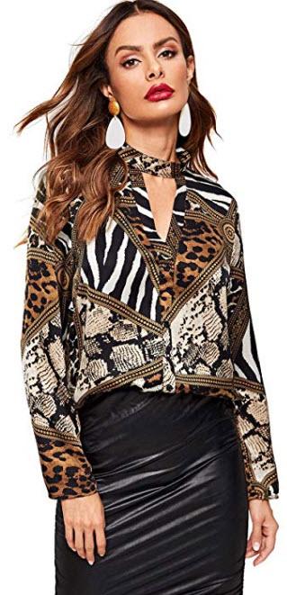 WDIRARA Women's Long Sleeve Criss Cross V Neck Soild Blouse Shirts Tops brown