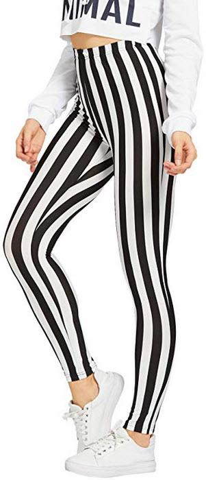 WDIRARA Womens Striped Print Capris Pants Elastic Waist Stretchy Yoga Leggings black & white